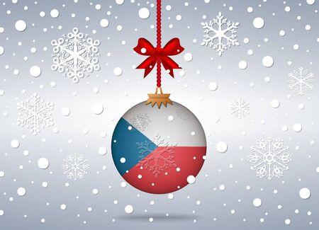 czech flag: sfondo Natale con palla bandiera ceca Vettoriali