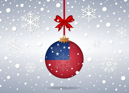 samoa: christmas background with samoa flag ball