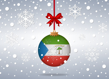 equatorial guinea: christmas background with equatorial guinea flag ball