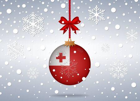 tonga: christmas background with tonga flag ball Illustration