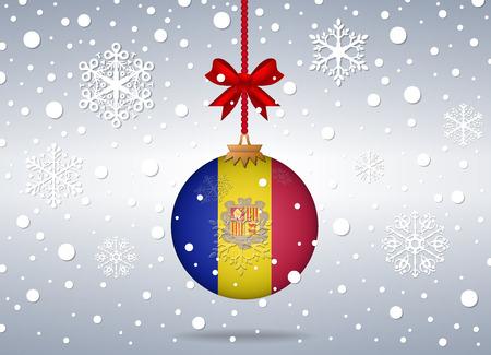 andorra: christmas background with andorra flag ball Illustration