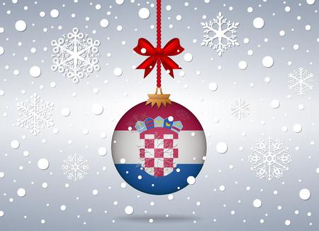 christmas background with croatia flag ball  イラスト・ベクター素材