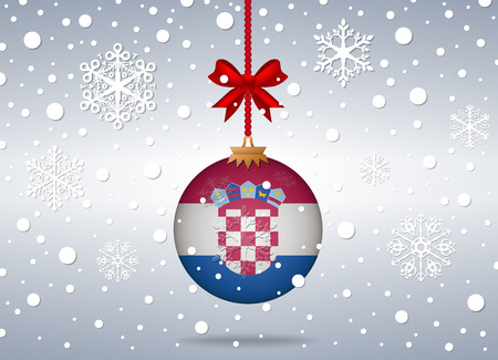 croatia: christmas background with croatia flag ball Illustration