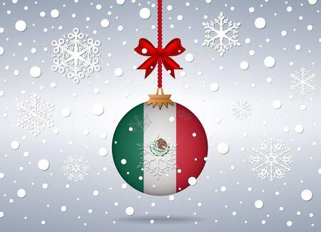 bandera mexico: fondo de la Navidad con la bola de la bandera de M�xico