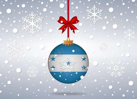 bandera honduras: Fondo de Navidad con bola de Honduras bandera