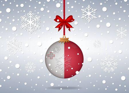 malta: christmas background with malta flag ball Illustration