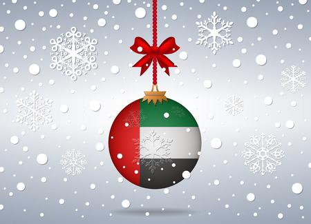 united arab emirates: christmas background with united arab emirates flag ball Illustration