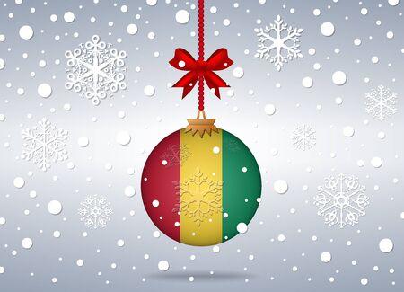 guinea: christmas background with guinea flag ball