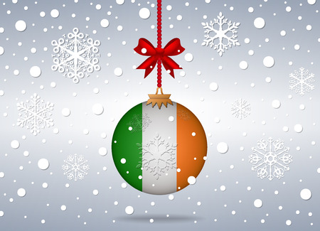 christmas background with ireland flag ball