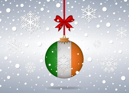 Kerst achtergrond met Ierland vlag bal Stock Illustratie