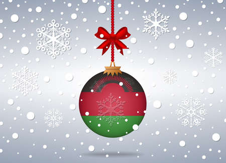 malawi: christmas background with malawi flag ball