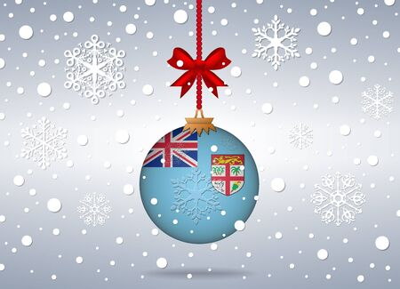 fiji: christmas background with fiji flag ball