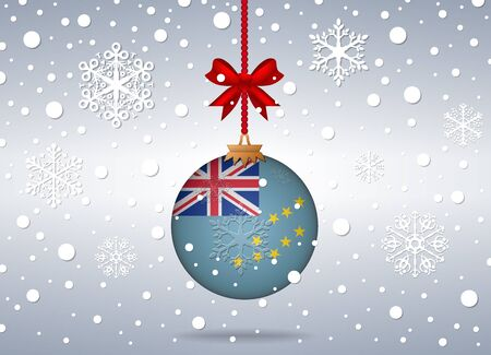 tuvalu: christmas background with tuvalu flag ball