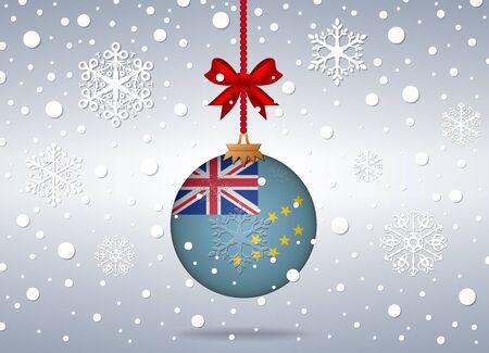 tuvalu: christmas background with tuvalu flag ball