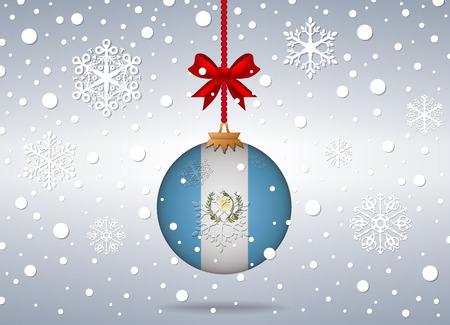 bandera de guatemala: fondo de la Navidad con la bola de la bandera de Guatemala