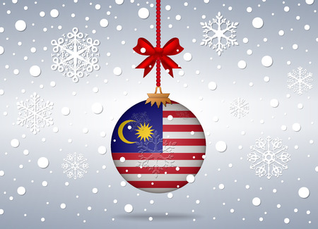 christmas background with malaysia flag ball