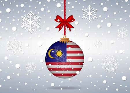 christmas background with malaysia flag ball