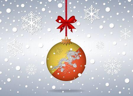 bhutan: christmas background with bhutan flag ball