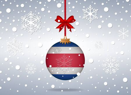 costa rica flag: christmas background with costa rica flag ball