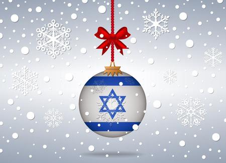 Kerst achtergrond met de vlag van israël bal