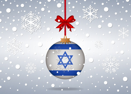 christmas background with israel flag ball