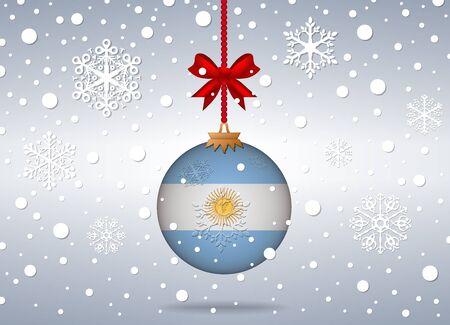 bandera argentina: fondo de la Navidad con la bola de la bandera Argentina