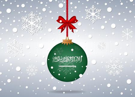 saudi arabia: christmas background with saudi arabia flag ball Illustration