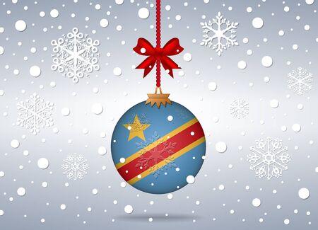 republic of the congo: christmas background with republic congo flag ball