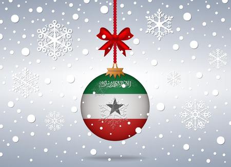 somaliland: christmas background with somaliland flag ball