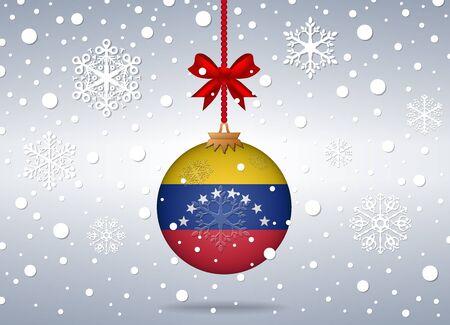 venezuela flag: fondo de la Navidad con la bola de la bandera de Venezuela