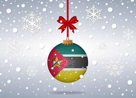 mozambique: christmas background with mozambique flag ball