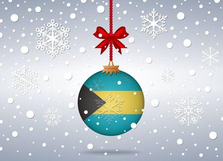 bahamas: christmas background with bahamas flag ball Illustration