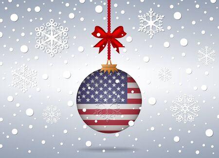 verenigde staten vlag: Kerst achtergrond met vlag van verenigde staten bal