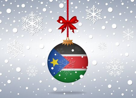 south sudan: christmas background with south sudan flag ball Illustration
