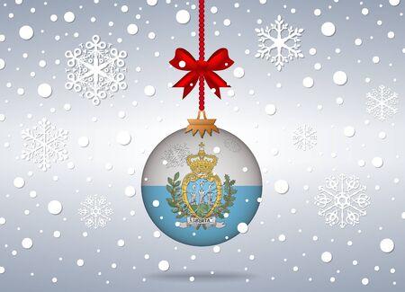 marino: christmas background with san marino flag ball Illustration
