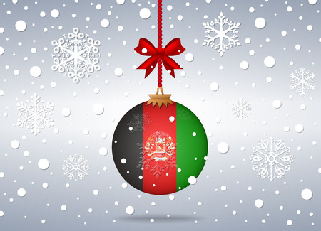 afghanistan: christmas background with afghanistan flag ball