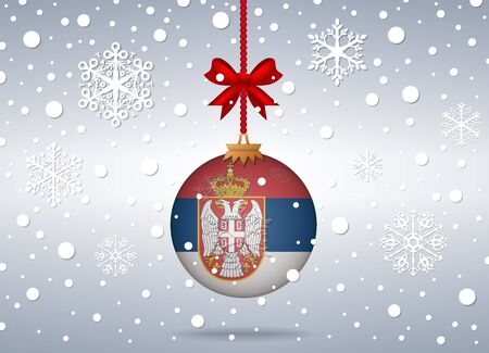 serbia xmas: christmas background with serbia flag ball