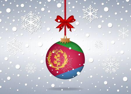 eritrea: christmas background with eritrea flag ball Illustration