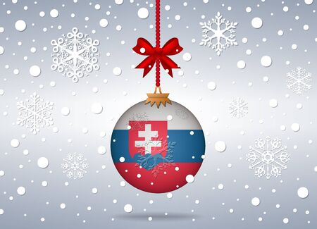 slovakia flag: christmas background with slovakia flag ball Illustration