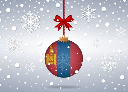 mongolia: christmas background with mongolia flag ball