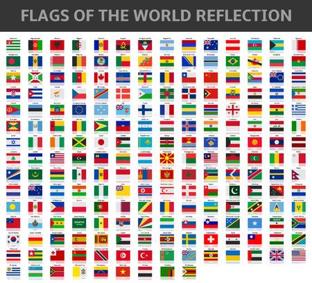 flags of the world reflection Illustration