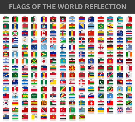 vlaggen van de wereld reflectie Stock Illustratie