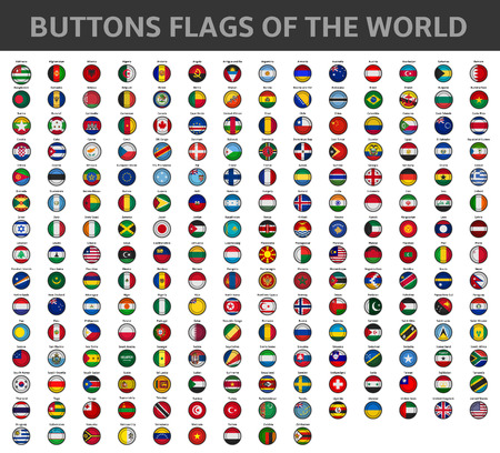 banderas del mundo: botones de las banderas del mundo Vectores