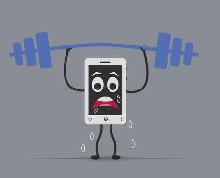 levantando pesas: tel�fono m�vil de levantamiento de pesas Vectores