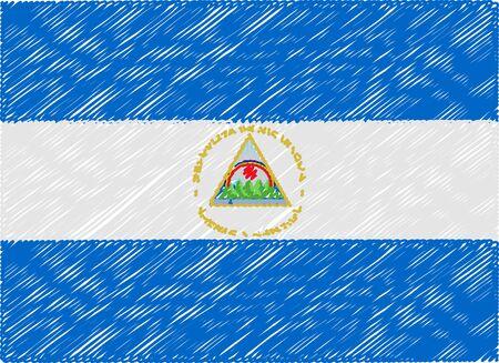 nicaragua: nicaragua flag embroidered zigzag Illustration