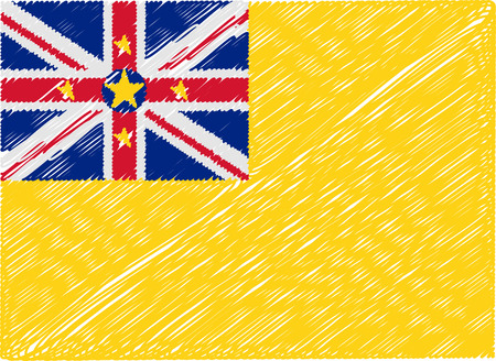 niue: niue flag embroidered zigzag