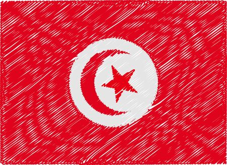 tunisia: tunisia flag embroidered zigzag Illustration