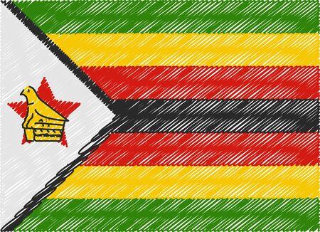 zimbabwe: zimbabwe bandera bordada en zigzag Vectores