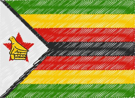 zimbabwe: zimbabwe flag embroidered zigzag Illustration