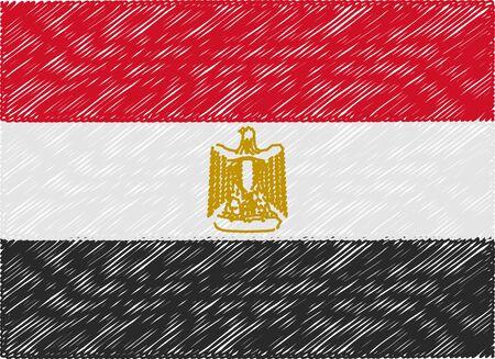 egypt flag: egypt flag embroidered zigzag Illustration
